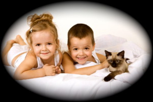 Happy kids playing with their kitten in the bed